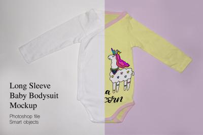 Long Sleeve baby bodysuit, onesie Mockup.