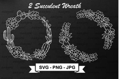 Cactus Wreath SVG Cut File - Succulent Frame SVG