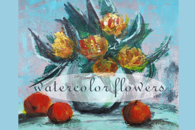 watercolor nature and flowers, flowers in a vase. still-life home deco
