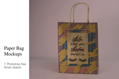 Craft Paper Shopping Bag Mockups. 7 PSD files with smart objects