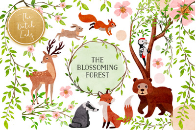 The Blossoming Forest Clipart Set