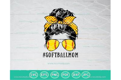 Softball Mom SVG | Softball Mom Life PNG | Messy Bun Softball Life