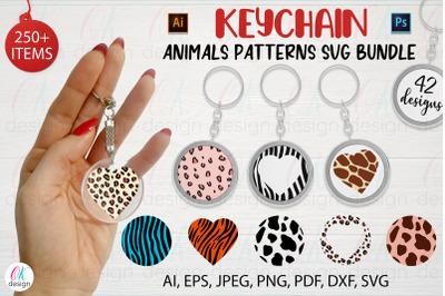 Keychain SVG bundle. Keychain Animals Patterns Bundle.