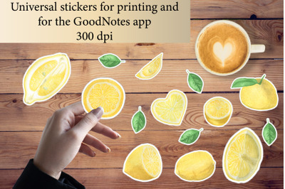 Stickers for printing and for the GoodNotes app.Lemons,herb