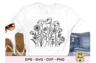 Wildflower meadow border florals SVG