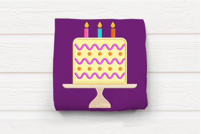 Birthday Cake on Stand | Applique Embroidery