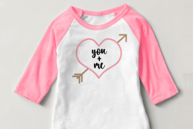 You and Me Heart with Arrow | SVG | PNG | DXF | EPS