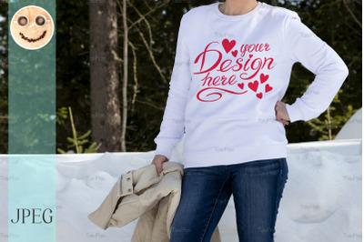 White sweatshirt mockup of a girl in winter woods.