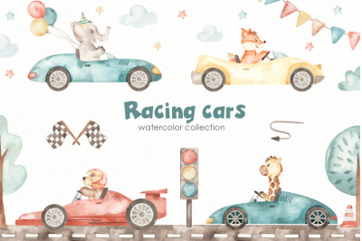 Racing cars watercolor collection