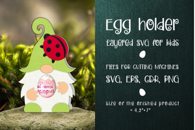 Gnome and Ladybug Egg Holder Template SVG