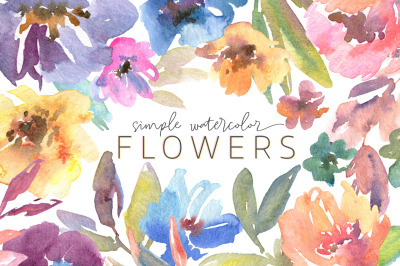 Simple Universal Watercolor Flowers