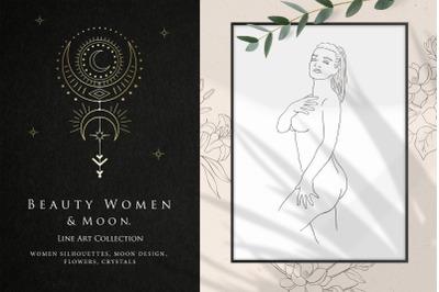Beauty Women & Moon. Trendy Line Art