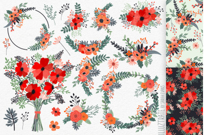Flower Clipart and Seamless Patterns | Red Flower Bouquet