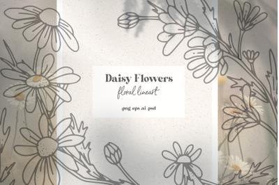Daisy Flowers - Modern Floral Line Art Set
