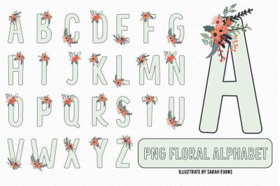 Mint Floral Alphabet PNG Clipart | Sublimation Alphabet