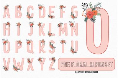 Pink Floral Alphabet PNG Clipart | Sublimation Alphabet