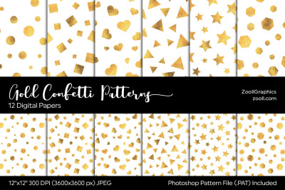 Gold Confetti Digital Papers
