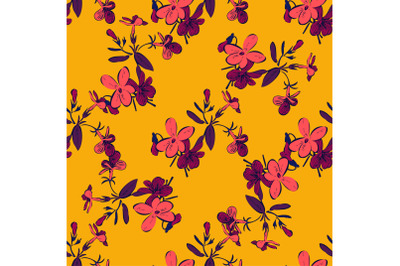 Drawing branches with flowers, bloom in pink purple yellow colors, flo