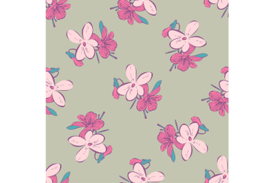 Branches with flowers drawing, bloom in pink colors, meadow floral sea