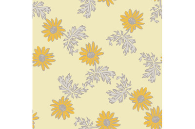 Chrysanthemum flowers drawing, bloom in yellow colors, floral seamless