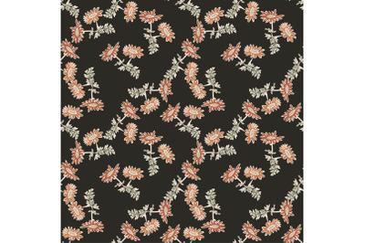 Chrysanthemum flowers drawing, bloom in brown colors, floral seamless