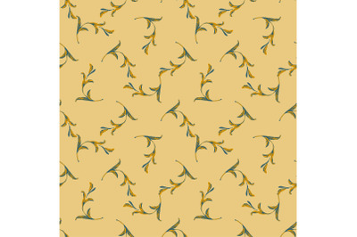 Drawing branches with leaves in yellow colors, plant seamless pattern,