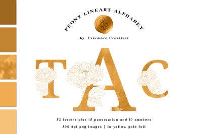 Gold Botanical Alphabet Foil Peony Line Art Monogram