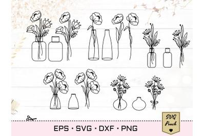 Wildflowers in vases bundle SVG set