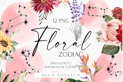 Watercolor floral zodiac clipart, Constellation clipart, Celestial png