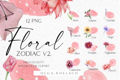 Watercolor floral zodiac clipart, Astrology clipart, Celestial clipart
