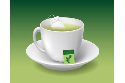 Realistic green tea cup