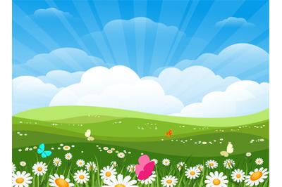 Spring flowers meadow landscape