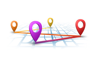 Map navigation with 3d pins