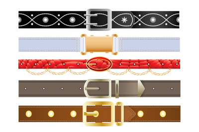 Leather belts with metal buckles