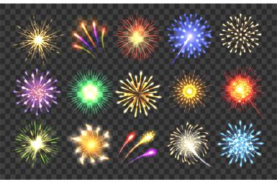 Realistic fireworks illustration