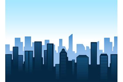 Blue city silhouettes skyline