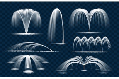 Water fountain splashes