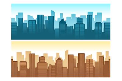 Buildings flat cityscape