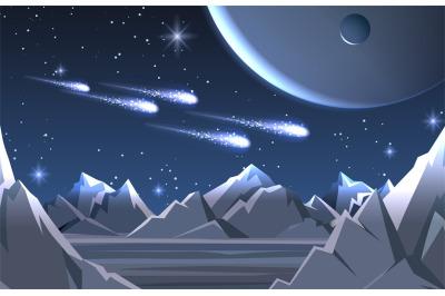 Space planet surface landscape