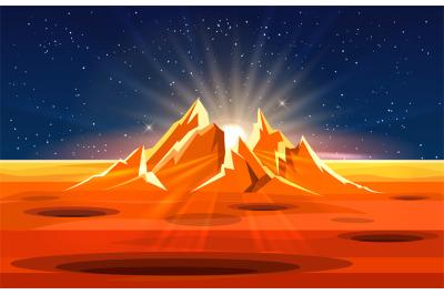 Sunrise on planet landscape