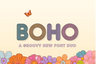 Boho Font Duo (Groovy Fonts, Boho Fonts, Vintage Fonts)