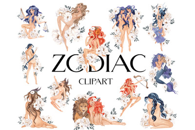Zodiac. Watercolor graphic collection