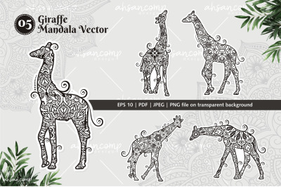 Giraffe Mandala Vector Line Art Bundle