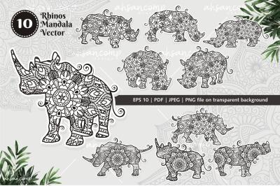 Rhinos Mandala Vector Line Art Bundle