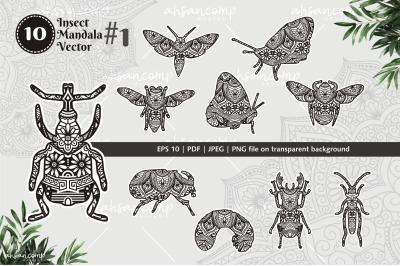 Insect Mandala Vector Line Art Bundle