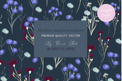 Modern rustic vector floral seamless pattern