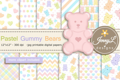 Pastel Gummy Bears Digital Papers and Clipart