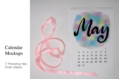 Calendar Mockups. 7 PSD files with smart objects.