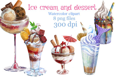 Ice cream and dessert clipart, summer clipart, watercolor clipart.