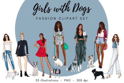 Girls With Dogs Fashion Clipart Set